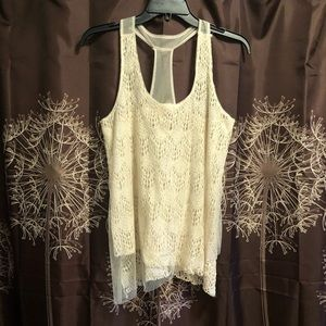 DAYTRIP TANK TOP Lace Crochet Sheer Cream Small S
